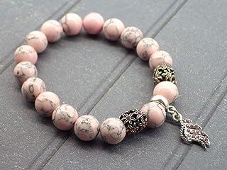 bracciale color turchese rosa ricostituito perle e ciondoli a forma di penna con cristalli