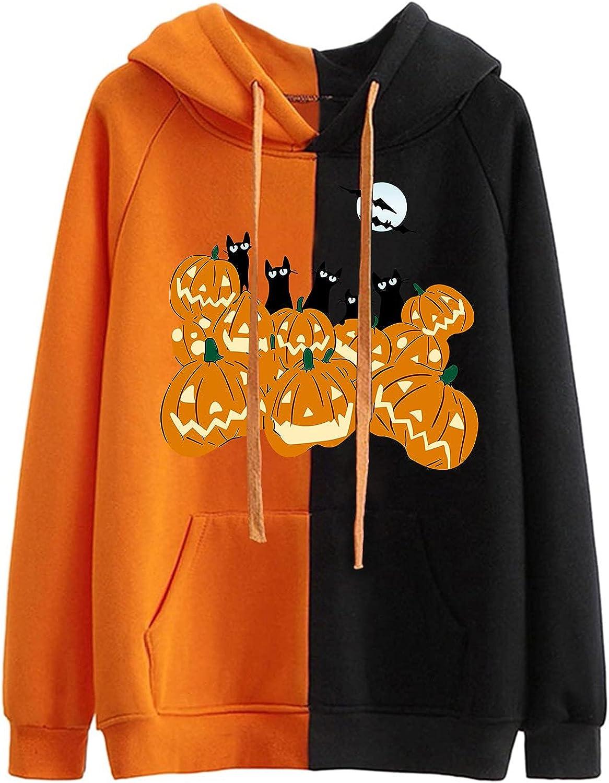 Halloween Max 77% OFF Pumpkin Sweatshirt for Women Pullove Cute Hoodie Loose store