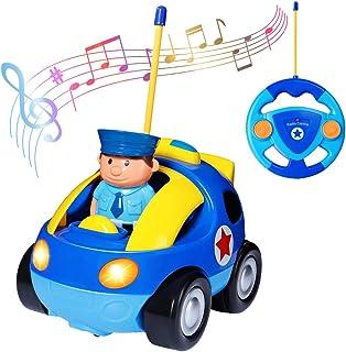 deAO RC Coche Adorable para Principiantes Cochecito a Control Remoto con Luces Música y Sonidos Figura de Conductor Extraíble (Coche de Policia)