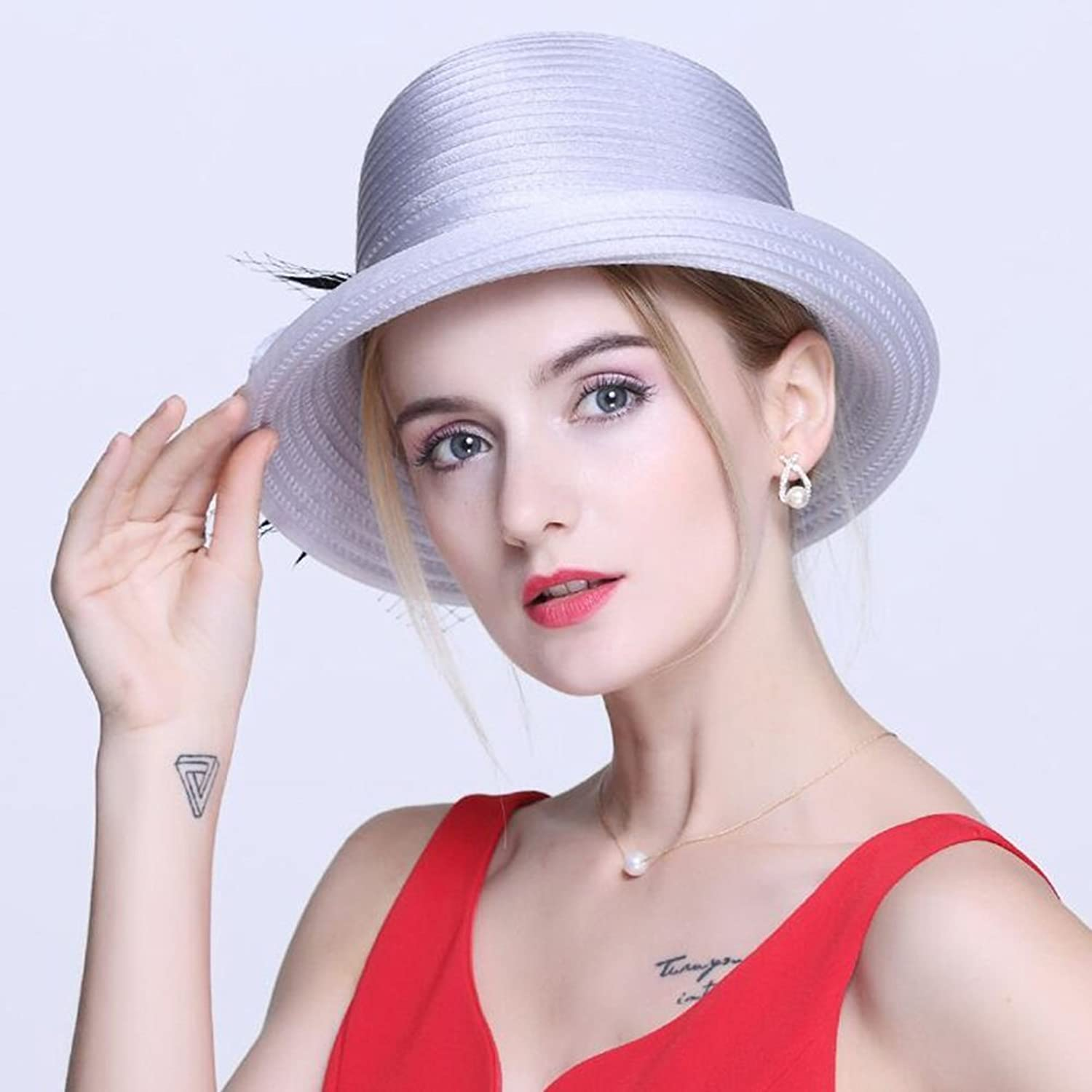 Sunny Ladies Hats Women's Summer Dome Small Bowler Shopping Visor Hat Travel Holiday (color   Light Grey)