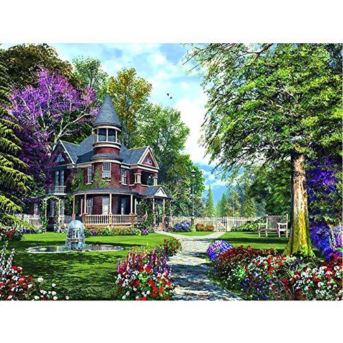5D Diamante Ricamo Paesaggio Immagine Villa Giardino Kit Mosaico Completo Strass Rotondi Pittura Diamante Croce Stich-in Diamante Pittura A Punto Croce da Casa