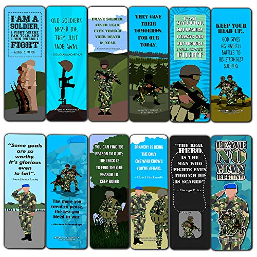 Creanoso Patriotic Army Bookmarks (12-Pack) – Premium Gift Collection Set – Stocking Stuffers Ideas for Soldiers, Veterans, Adult Men – Six Bulk Assorted Bookmarks Designs – Military Giveaway Tokens