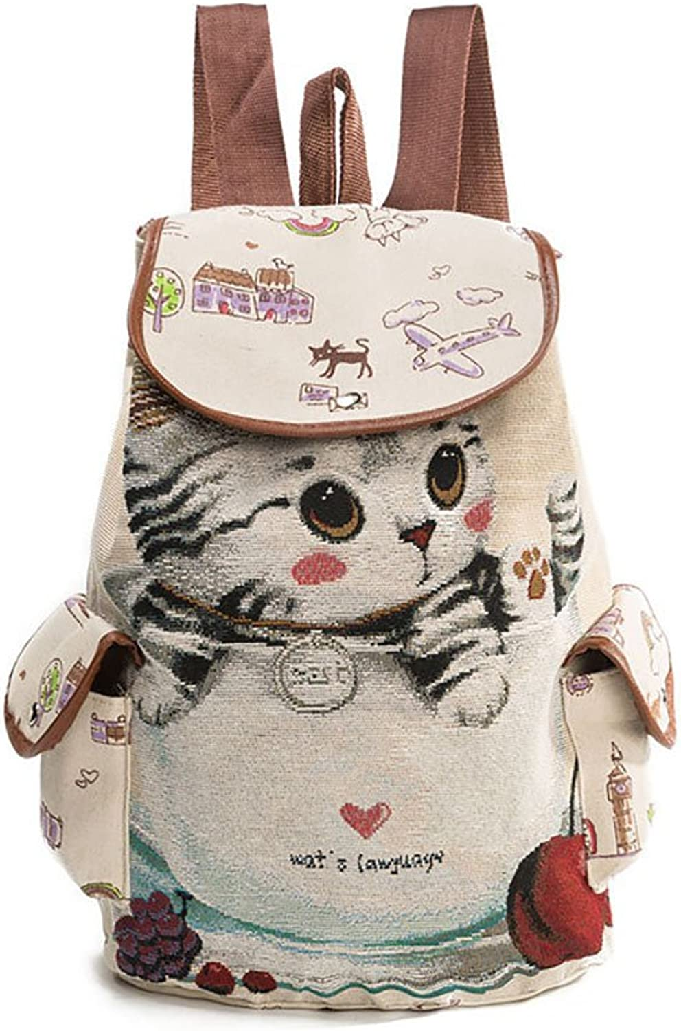 Women's Backpacks Casual Women's Rucksacks Trendy High School Students' Bags Cute Jacquard Embroidery Backpack (Pattern   A)