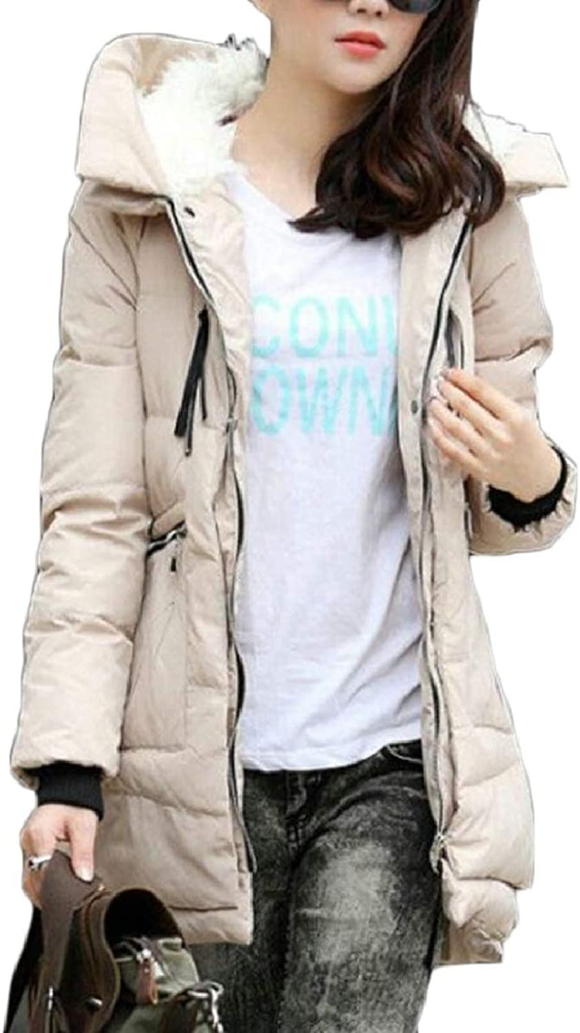 LEISHOP Women's Winter Fleece Plus Size Thick Hooded Mid Long Down Jacket Coat 26 M