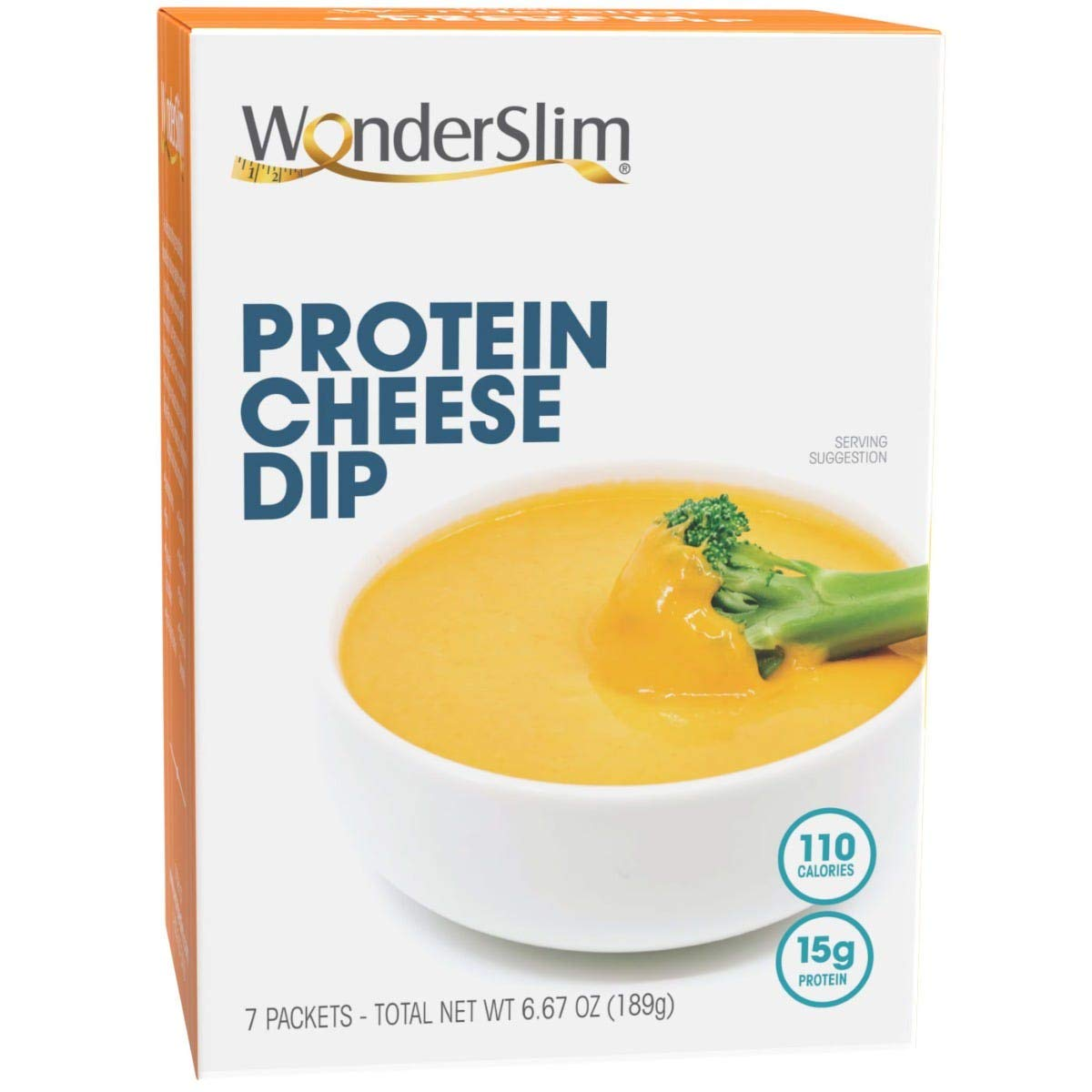 WonderSlim Protein Cheddar Cheese Dip, Low Calorie Snack, 15g Casein Protein, Keto Friendly, Easy To Prepare Soup, Dip or Cheese Sauce - 110 Calories, Ready in 60 Seconds - 7 Servings