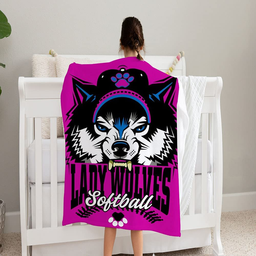 GANTEE Lady Wolves Industry No. 1 Softball Team Blanket Industry No. 1 Design Stitches Super