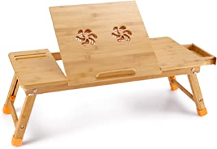 Large Size Laptop Tray Desk Newvante Bamboo Adjustable Table with USB Fan2 Foldable Breakfast Serving Bed Tray with Leg Cover