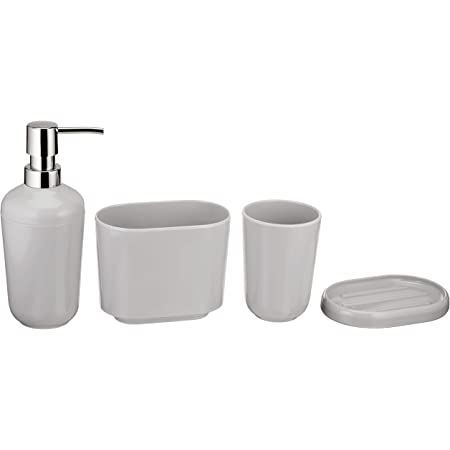 Dwellza 6 Piece Bathroom Accessories Set Complete Bath Set Includes Countertop Soap Dispenser Toothbrush Holder Tumbler Soap Dish Square Tissue Cover Wastebasket Silver Mosaic Home Kitchen