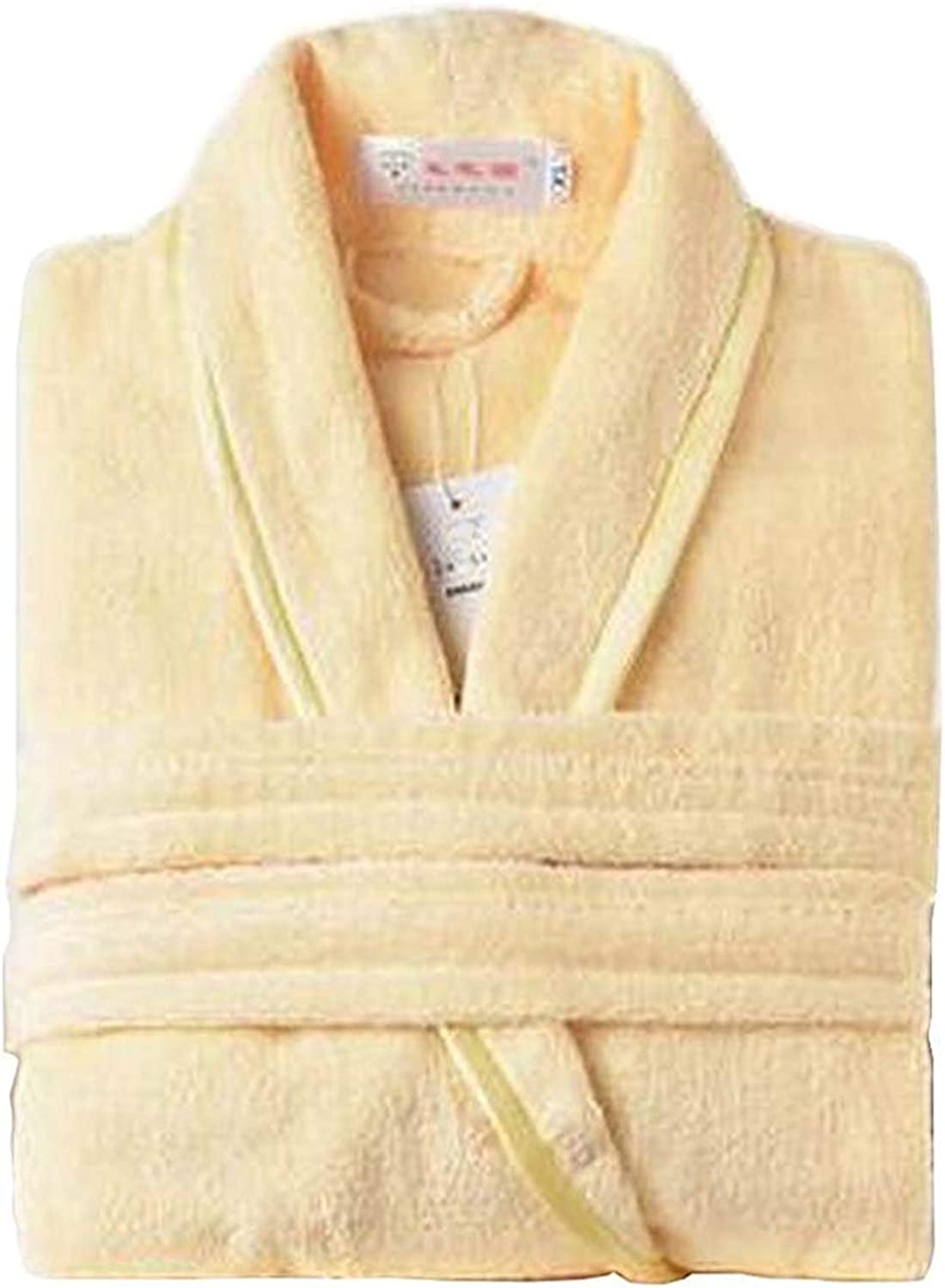 [Yellow] Women Cotton Bathrobes Ladies Nightgown Soft Robe for Winter