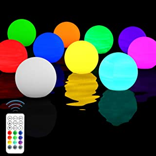 Homly 10 Sets Floating Led Pool Lights Remote Control RF, Light Up Pool Balls,16 Color Changing Glow Balls Battery Powered...