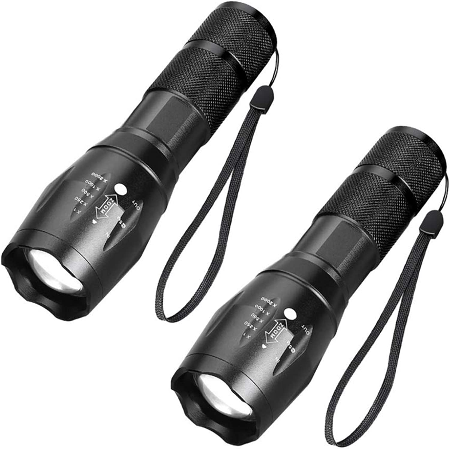 Portable Handheld LED Flashlight Adjustable Focus 5 Light Mode Outdoor Waterproof Tactical Spotlight