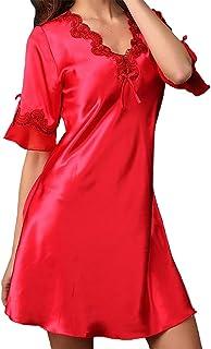 90608fe5ad51d Aivtalk Sexy Femme Satin Nuisette Robe de Nuit à Manches Courte Col-V  Elégant Nuisette