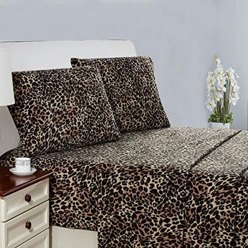 Plush Micro Fleece Bed Sheet Set, Extra Warm Polar Fleece 4 Pcs Winter Bed Sheets, with Deep Pocket, Leopard, Queen