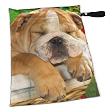 English Bulldog Puppy Crate Dog Waterproof Wet Bag, Washable, Reusable for Travel, Beach, Pool, Stroller, Diapers, Dirty Gym Clothes, Wet Swimsuits, Toiletries, Electronics, Toys