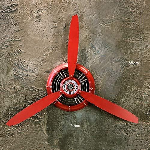 Wandrekken Retro industriële wind creatieve propeller smeedijzeren wanddecoratie home bar restaurant restaurant hoofd wanddecoratie klok functie (kleur: messing) rood