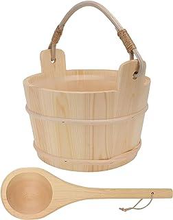 Cabilock 1Set Sauna Wooden Bucket and Ladle Kit Sauna Accessories with Liner for Sauna SPA