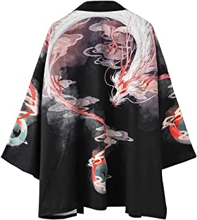 Men Kimono Chinese Painting Dragon Cardigan Cover Up Open Front Shawl Unisex Robe