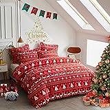 FlySheep Christmas Comforter Set Soft Microfiber Holiday Merry Christmas Lightweight Bedding - Elk Deer Christmas Tree Snowflake Printed Queen