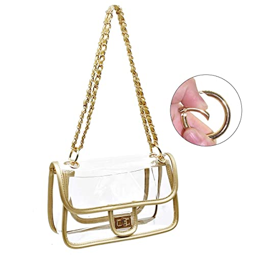 74d342f68ff1 Laynos Clear Purse Turn Lock NFL Approved Chain Crossbody Shoulder Bags  Handbags
