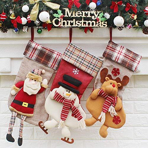 Weihnachtssocke, süßer Weihnachtsmann, Schneemann, Socken, Süßigkeiten, Geschenktüte, 3 Stück Baum-Anhänger