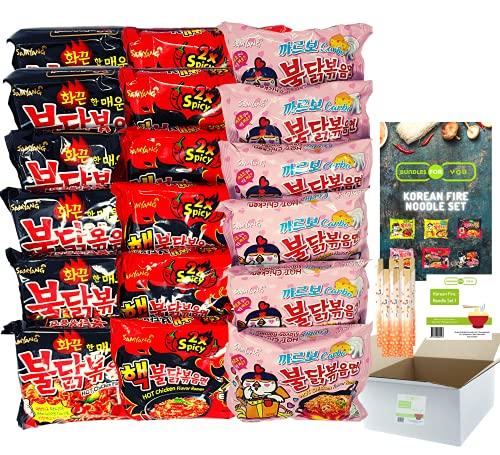 BUNDLES FOR YOU - Samyang Hot Ramen Noodles - Schärfste Nudeln der Welt Set - Vorteilspack (18x140g) 6 statt 5 Portionen pro Sorte - Korean Fire Noodle Set 1
