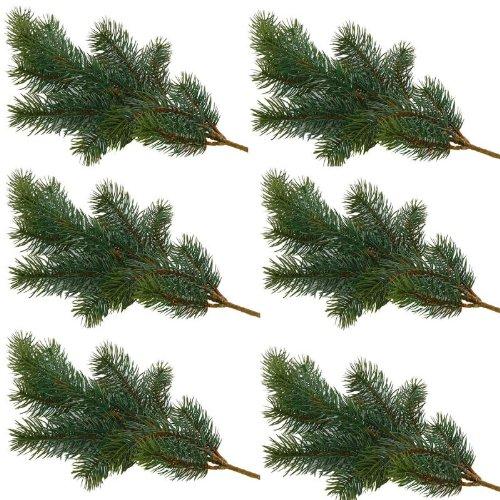 Annastore 6 x Tannenzweige künstlich L 45 cm - Top Qualität wie echt für innen und außen - frostsicher und witterungsbeständig