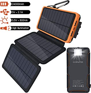 Oxsaytee Portable 24000mah Solar Charger with Multifunction Flashlight, 3 Foldable Solar Panels solar Power Bank, Dual USB External Battery Backup, Waterproof Phone Chargers