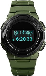 Pedometer Watch, Compass Watch Wateproof Digital Sports Running Wrist Watch with Temperature Stopwatch Timer