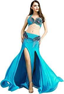 Belly Dance Costume for Women Belly Dancing Skirts Belly Dance Bra and Belt Maxi Ruffle Fishtail Skirt Dresses