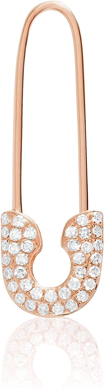 14KT Gold and Fixed price for sale Diamonds Safety Pin — Gorgeous Threader Av Earrings Fashion