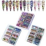 Kalolary Nail Art Foil, 30 Rollos Pegatinas Uñas Decorativas Nail Art Transfer Foil Nail Stickers Láminas para Manicuras Diseños DIY Uñas