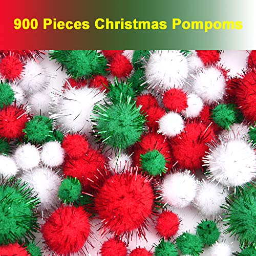 Livder Christmas Pom Poms Pompoms Red Green White Glitter Fluffy Balls, DIY Art Crafts Decorations Supplies (4 Sizes, 900 Pieces)