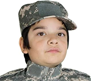 Kids Cadet Military Adjustable Cap - Army Camo Flattop Hat - Boys Girls Children