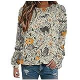 Blusa para mujer, elegante, Halloween, calabaza, manga larga, suéter informal, cuello redondo, camiseta de manga larga, Blanco, L