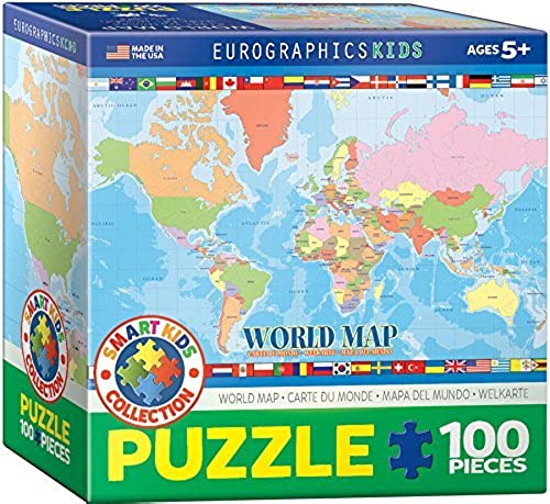 EuroGraphics World Map for Kids Jigsaw Puzzle (100-Piece) by EuroGraphics
