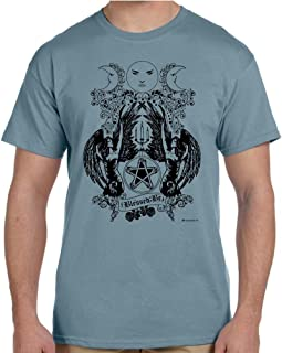 Blessed Be Pentagram Pagan T-shirt (Small, Stone Blue)
