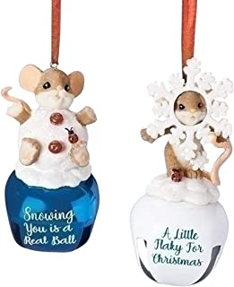 Charming Tails Snowball and Snowflake MiceAssortment of 2 Mice on Bells -