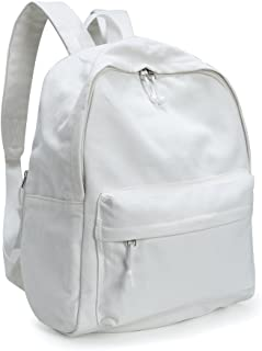 Unisex DIY Canvas Backpack Daypack Satchel Backpack(Natural White)
