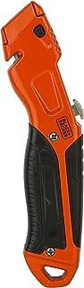 Black+Decker Metal Retractable Utility Knife with 3 Blades, Orange/Black - BDHT10395, 2 Years Warranty
