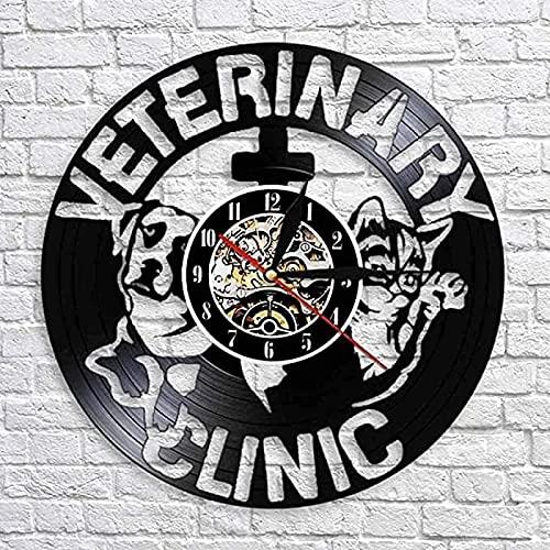 SHILLPS Reloj de Pared con Registro de Vinilo, Reloj de clínica de Salud para Mascotas, Reloj, Tienda de Mascotas, Letrero de Pared, Cuidado de Perros y Gatos, decoración de Pared sin LED