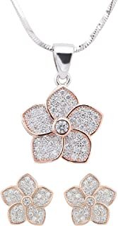 Izaara 92.5 Sterling Silver Flower Shape Pendant & Chain With Stylish Latest Design Earrings Gift for Women & Girls | Party Occasional Daily Wear