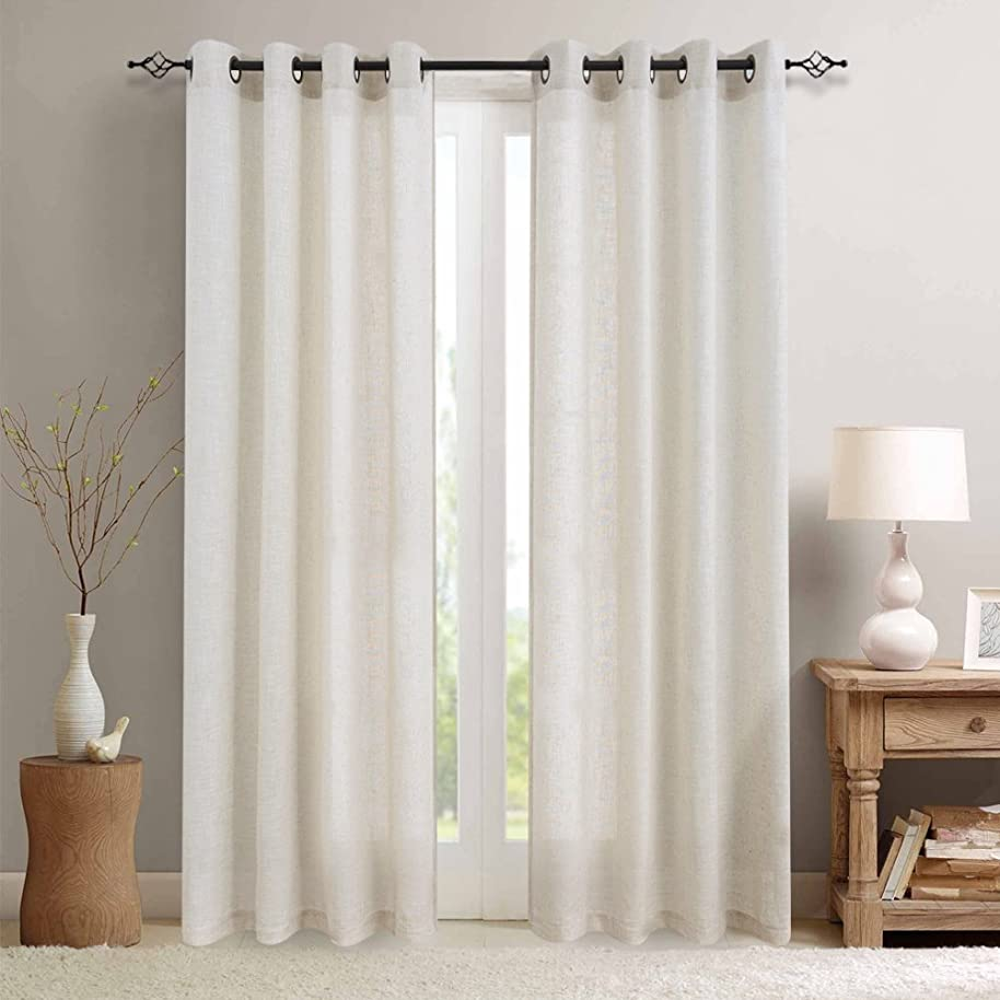 jinchan Linen Blend Curtains for Living Room 84 Inch Length Drapes Flax Draperies Window Treatments for Sliding Glass Doors Bedroom Curtain Panels (2 Panels 84