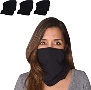 BLACK Neck Gaiter for Women & Men Face Mask Bandana Scarf Adjustable Reusable Solid Colors Multifunctional. Sports