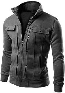 Jimmackey Outwear Autunno Inverno Manica Lunga Giubbotto Collo Solido con Cerniera Cappotto Uomo Elegante Slim FitGiacche ...