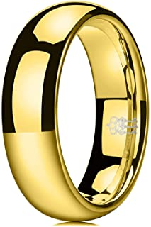 THREE KEYS JEWELRY 2mm 4mm 6mm 8mm 24k Gold Plated Womens Tungsten Wedding Ring for Women Engagement Band Gold