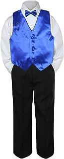 4pc Formal Baby Teen Boy Royal Blue Vest Bow Tie Black Pants Suit S-14 (7)