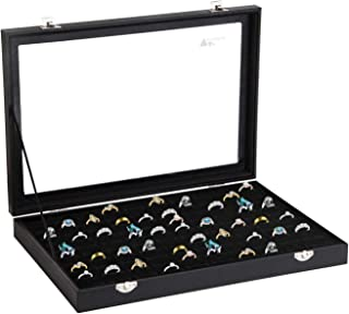 amzdeal Ring Case Ring Box 100 Slots Ring Organizer Ring Holder Jewelry Display Storage Box Tray, Ideal Gift for Women and Men, Black