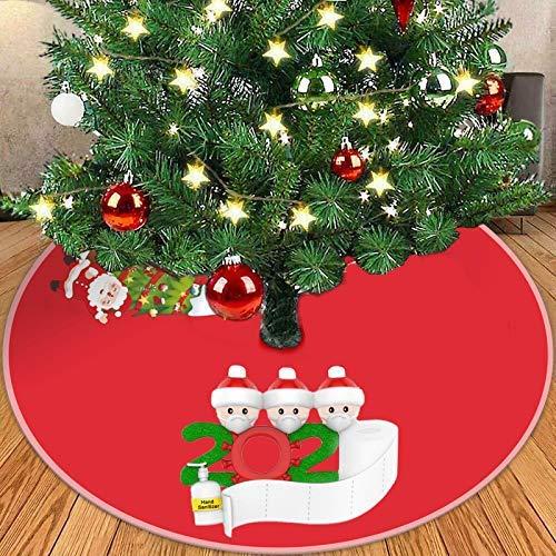Barnrae Christmas Survivor Tree Skirt,2020 The Latest Red Christmas Merry Christmas Tree Decoration Skirt,Diameter 90cm(A-Red(1PC))