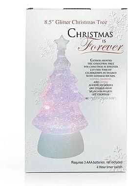 "8.5"" Glitter Christmas Tree - Light Up Snow Globe Decor - White"