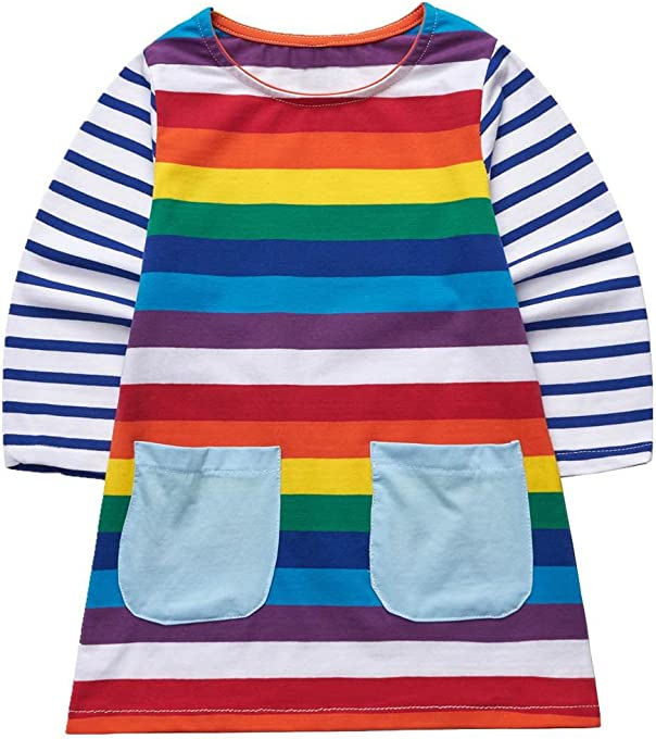 Sooxiwood Girls Dress Striped Rainbow Pocket